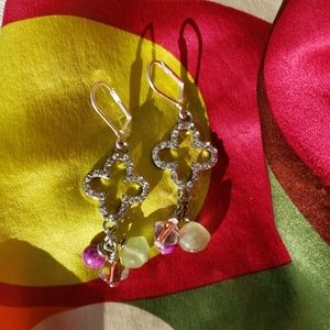 Crystal Clover Charm Earrings